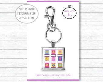 Quilt Keychain, Designer Keyring, Cross Stitch Keeper, Made to Order Key, Scissor Clip, Cross Stitch Fob, Initial Charm, Cabochon Key Glass