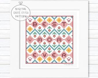 Best Mom Cross Stitch, Mothers Day Cross Stitch Patterns, Tulips Counted Cross Stitch, Crosstitch Pattern Download, Word XStitch Pattern PDF