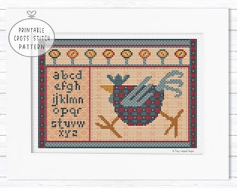Rooster Cross Stitch Pattern, Alphabet Sampler Embroidery, Primitive Stitching, Farmhouse Stitches, Quaker Cross Stitch, Cross Stitch Farm