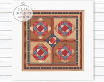 Primitive Cross Stitch Pattern PDF, Quilt Cross Stitch, Shaker Quilt, XStitch, Quaker Sampler, Counted Cross Stitch Gifts for Stitchers