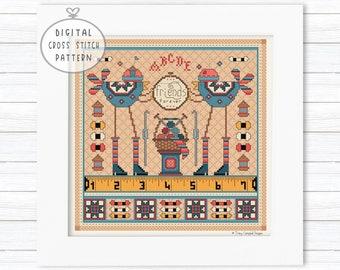 Sampler Cross Stitch Pattern PDF, Friendship Cross Stitch, Quilt Cross Stitch, Sewing Cross Stitch, Knitting Cross Stitch, Bird Crosstitch