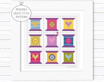 Geometric Cross Stitch PDF, Folk Cross Stitch, Tiles Cross Stitch, Printable Quilt Pattern, Cross Stitch Square, Embroidery Stitch Sampler