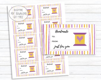 Handmade Just for You Gift Tags, Handmade Printable Gift Tags, Yellow Button Spool XStitch Image Design, Instant Digital PDF Download Label