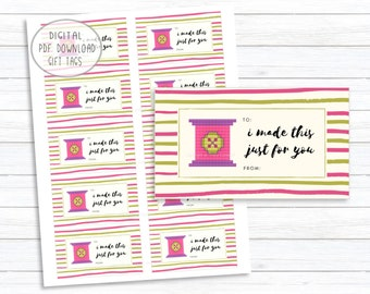 I Made this Just for You Gift Tags, Handmade Printable Gift Tags, Pink Button Spool XStitch Image Design, Instant Digital PDF Download Label