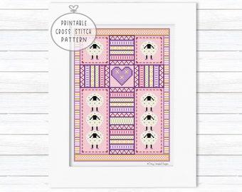 Sheep Cross Stitch Pattern PDF, Counted Cross Stitch Easter, Cross Stitch Religious Pattern, Gifts for Stitchers, Modern Cross, XStitch Lamb
