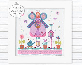 Gardening Cross Stitch Pattern, Ladybug Stitch, Cross Stitch Quilt Block, Summer Stitching Sampler, Cross Stitch Spring, Angel Cross Stitch