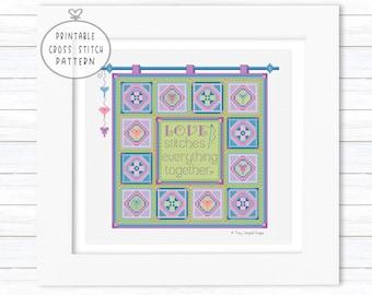Love Stitches Everything Together Quilt Digital Cross Stitch Pattern, Intermediate X-Stitch, Large Color Charts, DMC Floss, Aida Cloth, PDF