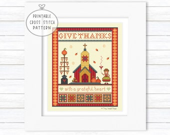 Give Thanks with a Grateful Heart Digital Cross Stitch Pattern, 5 Charts, 89 x 108 Stitches, One-of-a-Kind Needle Art, Instant PDF Download