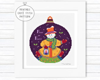 Peace on Earth Snowman Ornament Cross Stitch Pattern, Christmas X-Stitch, Beginner, Enlarged Color Charts, DMC Threads, Aida Cloth, 1 PDF