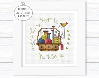 Home Is Where The Wool Is Counted Cross Stitch Pattern, Intermediate X-Stitch, Cross Stitch for Knitters, DMC Threads for XStitch, Digital