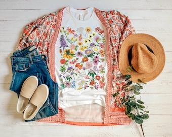 Botanical Graphic Shirt - Floral Shirt - Women's Spring Flower Shirt - Floral Shirt