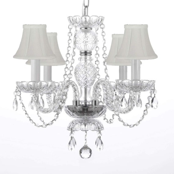 MURANO VENETIAN STYLE ALL-CRYSTAL CHANDELIER WITH  WHITE SHADES!