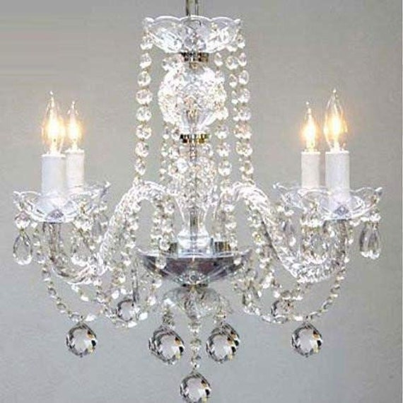 MURANO VENETIAN STYLE ALL CRYSTAL CHANDELIER WITH BLACK SHADES! H27