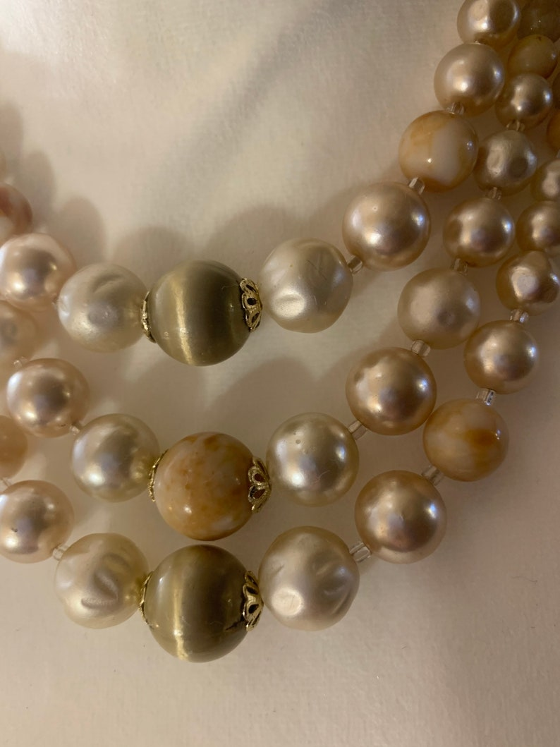 Peach Japan Marked Faux Pearl and Glass Bead Tri-Strand Graduated Necklace