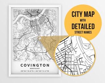 Covington Kentucky Map Covington Vintage Map Print Covington City Road Map Poster Canvas