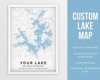Custom Lake Map Print, Lake House Art - Digital Download \ Lake Poster \ Wall Art \ Printable Map \ Map Poster