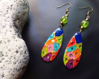 Women's earrings, long and hanging, multicolored, harlequin style, bright ...