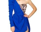 One shoulder dress - BLUE PANTHER