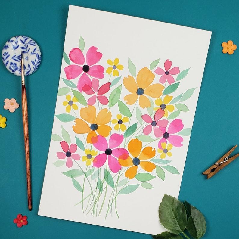 Hot Pink Decor Original Watercolor Botanical Artwork  Floral Watercolor Watercolor Painting