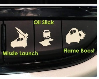 Car Blank Button Sticker Funny Ejector Seat Invisibility Oil Slick Smoke Screen