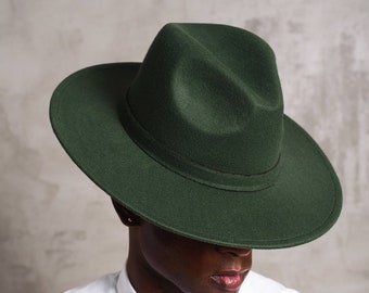 bb3cc34d Unisex Flat Wide Brim Fedora One Size Fits All - Green Forest