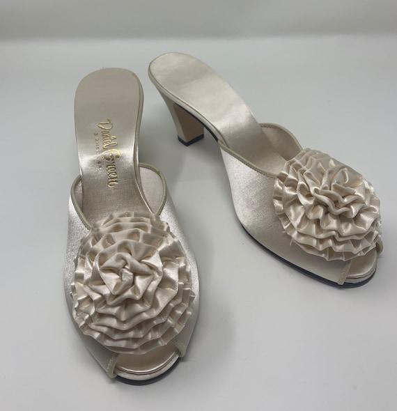 Vintage Daniel Green Ivory Slip on Heels| Open Toe