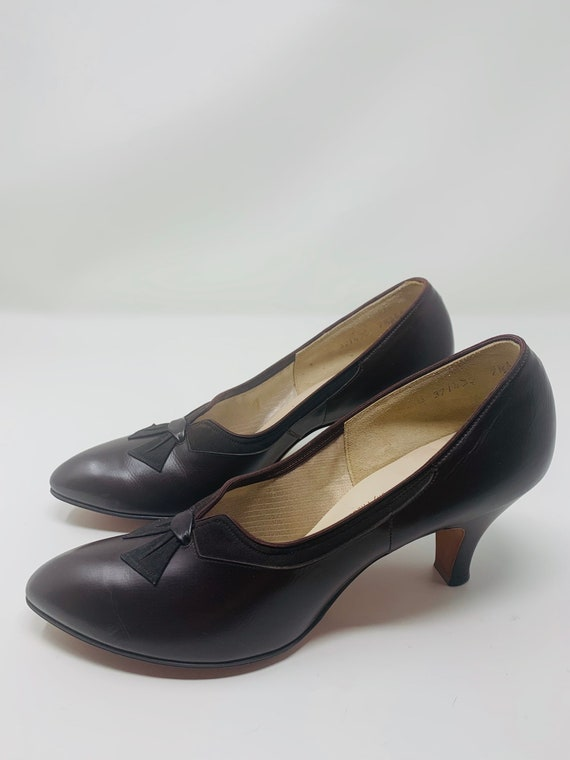 Vintage Selby 7.5AAA Chocolate Brown Leather Dead… - image 7