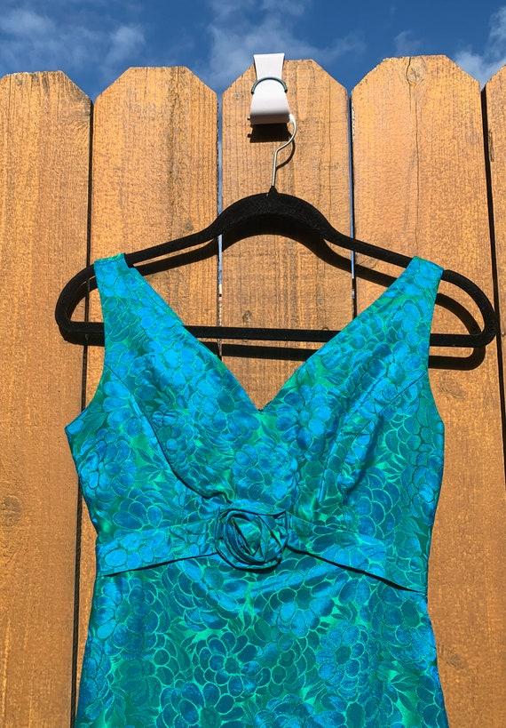 Vintage Sylvia Ann Dress 1950s Rose Print XXS - image 1
