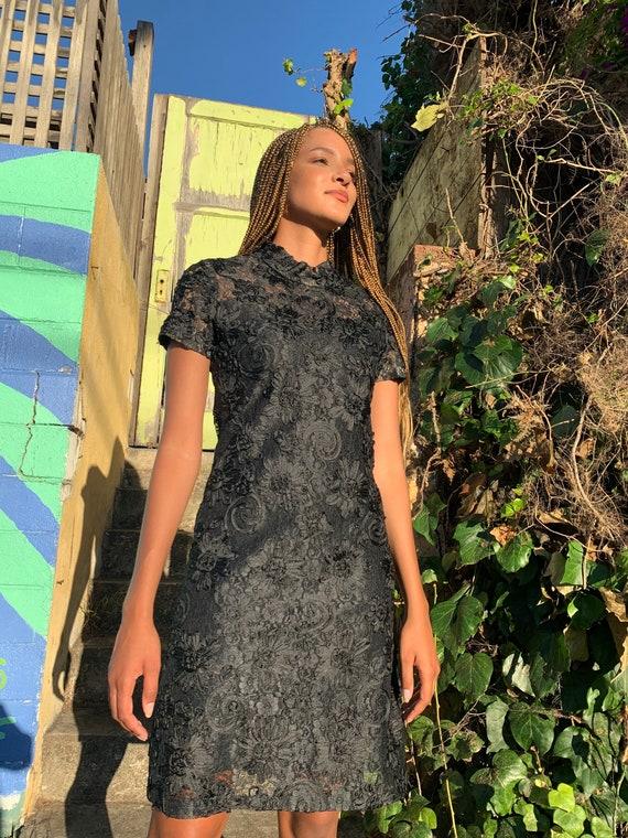 Vintage 50s Handmade Black Dress