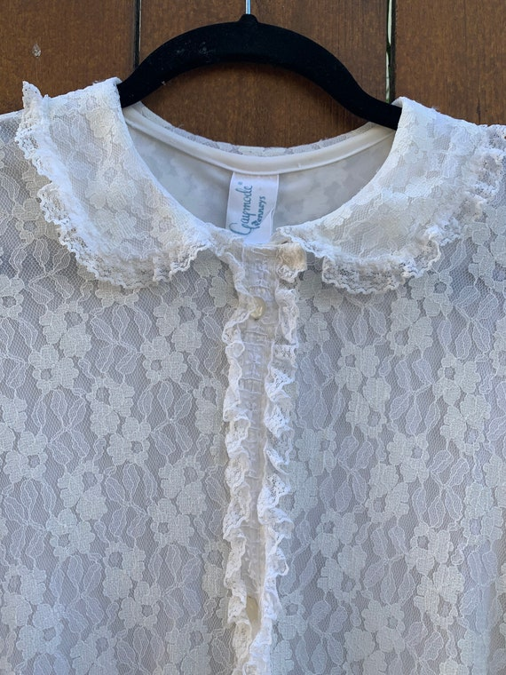 Vintage Gaymode Penneys White Lace Robe