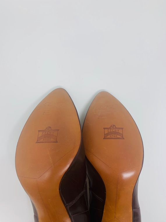 Vintage Selby 7.5AAA Chocolate Brown Leather Dead… - image 2