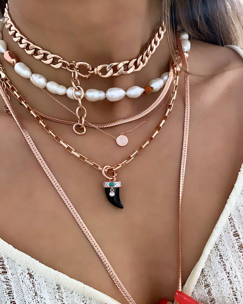 Adjustable Choker Cuban Chain Choker Necklace 925 Solid Sterling Silver Chunky Curb Chain Rose Gold Vermeil