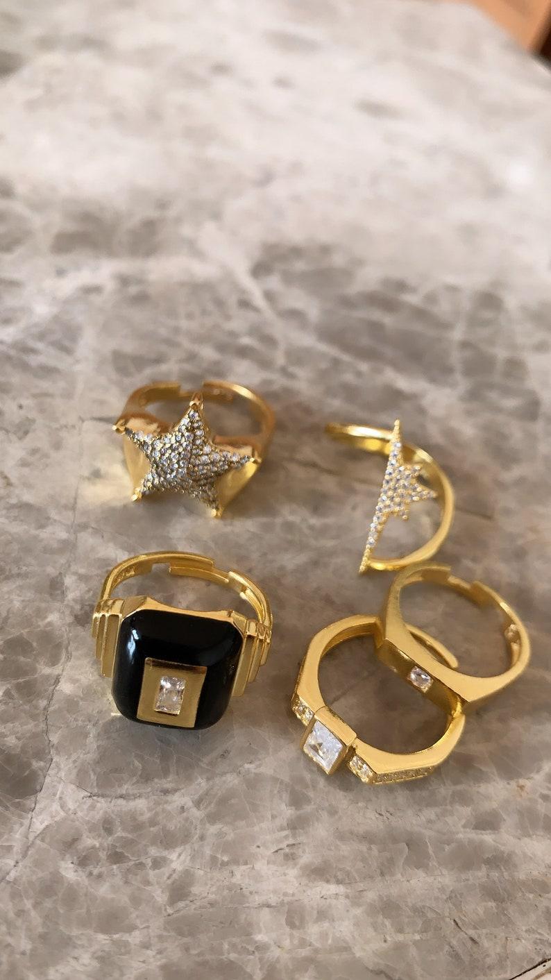 925 Solid Sterling Silver Black Enamel Rectangle  Ring Cubic Zirconia Gemstone 14K Gold Vermeil Ring Adjustable Ring, Statement Ring