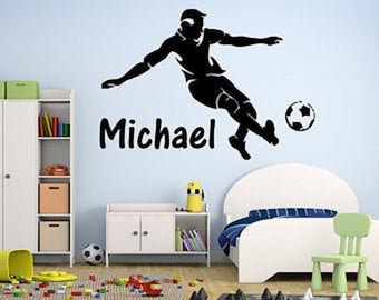 Soccer Decal  Custom Soccer Wall Decal  Soccer Player Decal  Boys Room Decal  Boys Room Decor  Game Room Decor  Sports Decal  Soccer