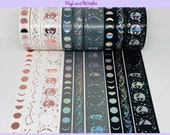 Papergeek Lunar Magic Washi Tape Samples Moon Lunar Eclipse Washi Tape Samples Stars Holo Rose Gold Foil Washi Tape Samples