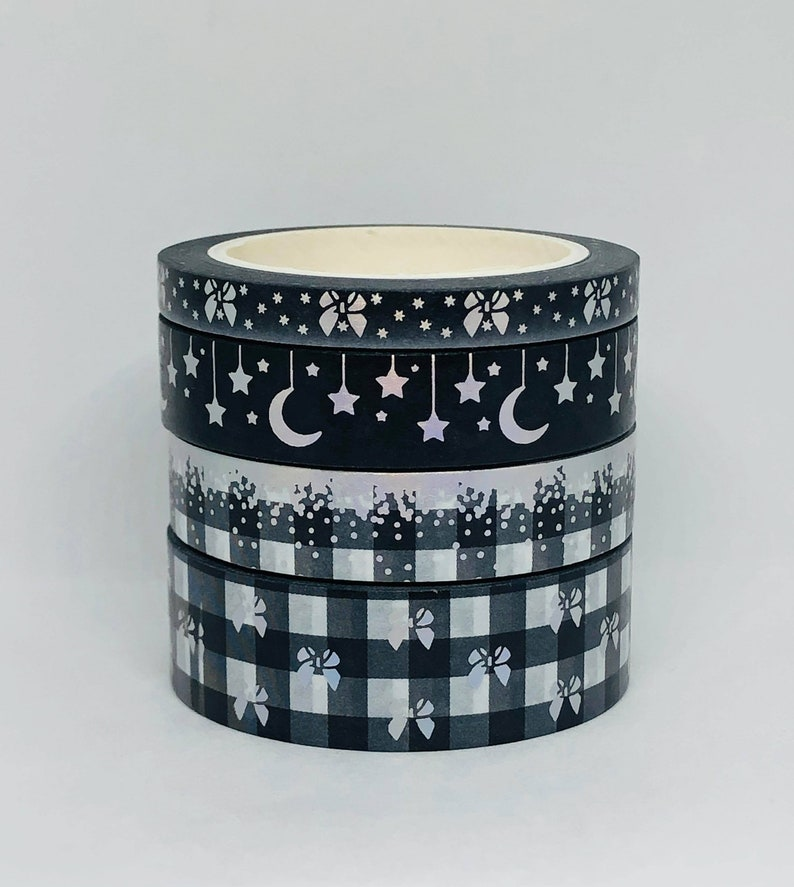Bows Stars Moon Washi Tape Samples Primrose Corner Black Plaid Holographic Washi Tape Samples Plaid Red Gold Foil Washi Tape Samples