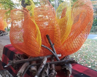 LED candle light campfire centerpiece Unique handmade design. Fall camping party lumberjack decoration. Indoor camping autumn party decor