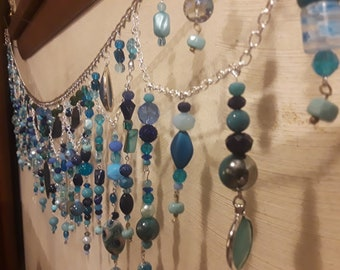 """Bead curtain window valance suncatcher. Handmade and custom designed in your decor! Unique gift. Apprx. 36-48"""""""