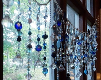 """Hand-beaded window curtain valance. Custom made for you in your favorite decor colors. 2021 trend window suncatcher 27- 36"""" Bead curtain"""