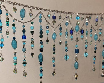 """Turqoise & teal hand-beaded valance. Custom made bead curtain for you in your favorite decor colors. 2021 trending window suncatcher 27- 36"""""""