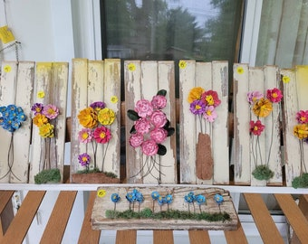 Hand Painted Pine Cone Flowers! Zinnia, peony, forget-me-not, daisy vintage shutter slat wall hanging Shabby chic, farmhouse, French country