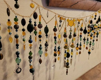 """Bead curtain valance suncatcher Let the sun shine in your favorite colors! Handmade and Custom designed for your window! Apprx >48-60"""""""