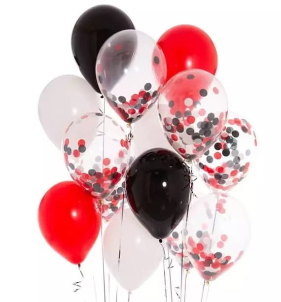 12 Pcsred White And Black Party Decorations Red Etsy