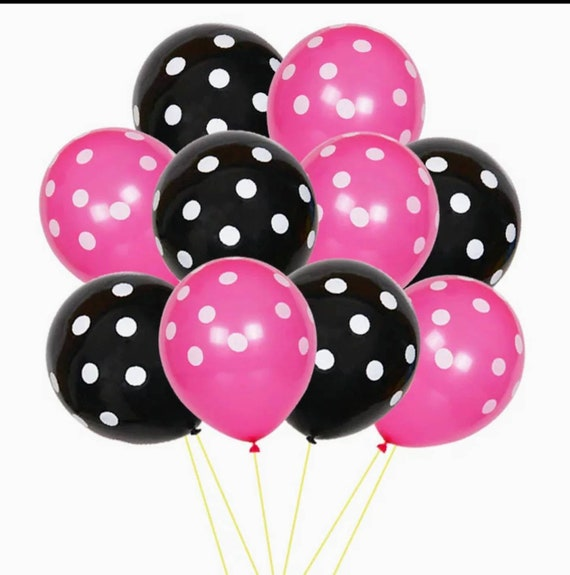 Minnie Mouse Party Decor Red White And Black Latex Balloons,Red And Black Confetti Balloons,Lady Bug Birthday Decorations Party Supplies