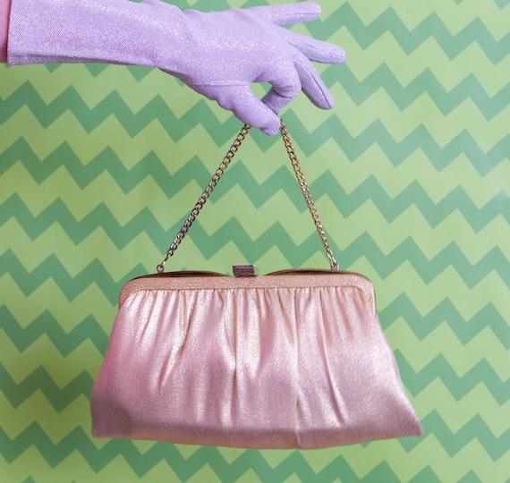 Vintage Gold Handbag | Metallic Fabric Purse | 195