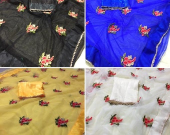 Indian Bollywood Heavy Linen Saree Pakistani Ethnic wedding wear sari Blouse
