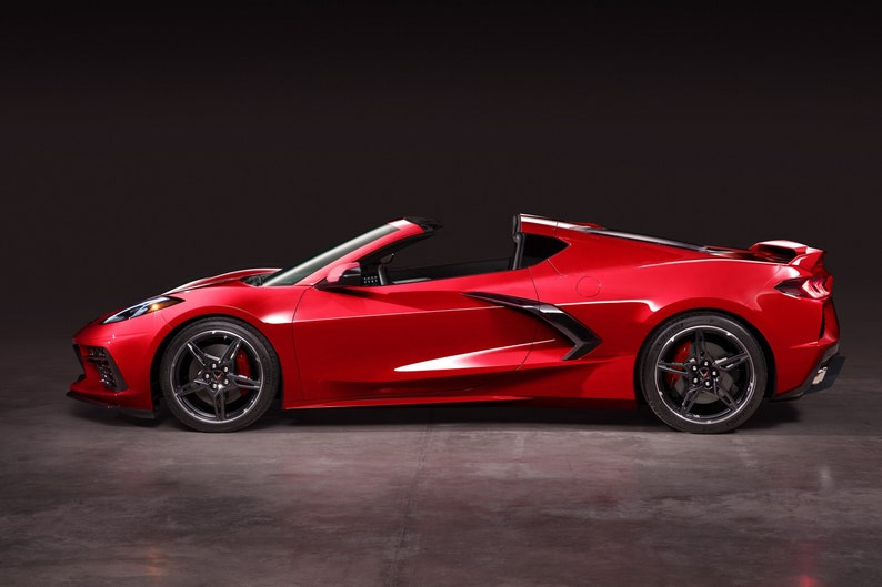 2020 Chevrolet Corvette red side view poster 24 X 36 inch image 0
