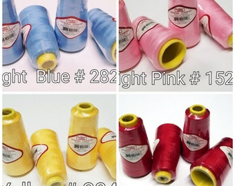 4 Big Spools Cones Serger Overlock Serge Sewing Thread 2500 Yards Each Cone NEW (48 Colors)