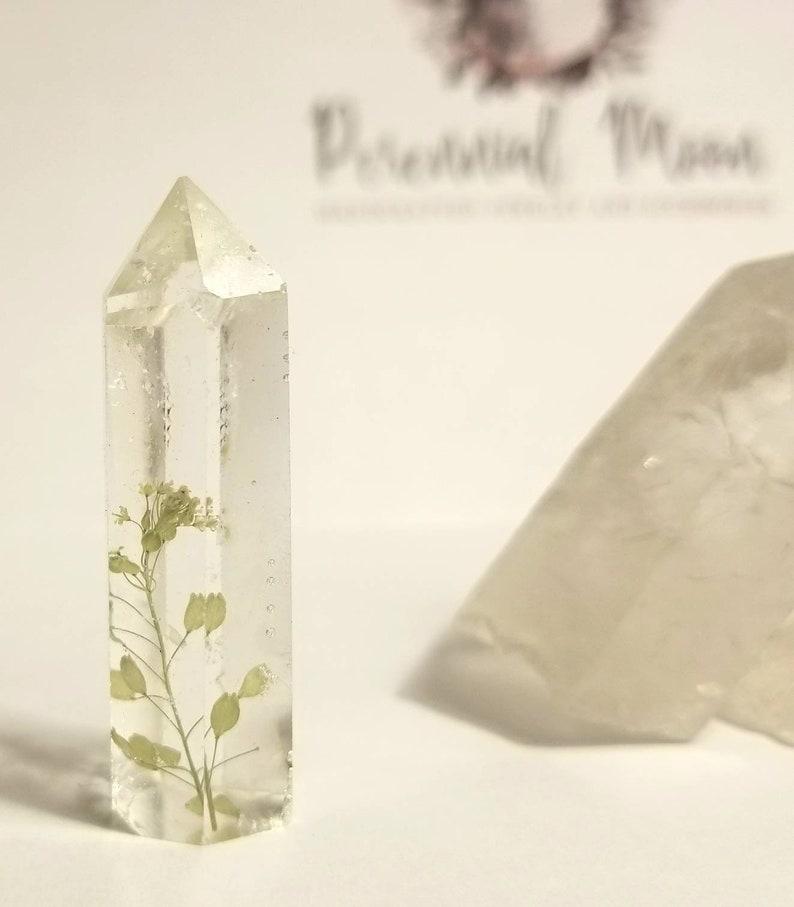 Flower crystal point  wildflower terrarium  bohemian decor  hippie gifts  Witch altar  botanical treasure oddities  flower crystal