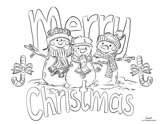Coloring Page Instant Download  Christmas Snowmen  PDF 1page